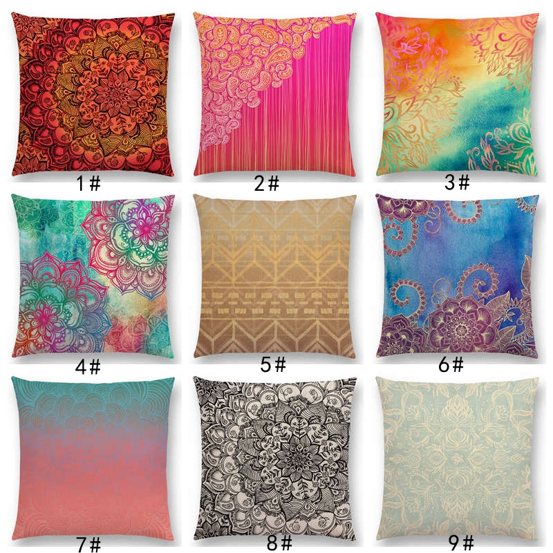 New Exotic Art Colorful Flower Gorgeous Floral Doodle Geometry Mandala Coral Paisley Pattern Cushion Cover Sofa Pillow Case