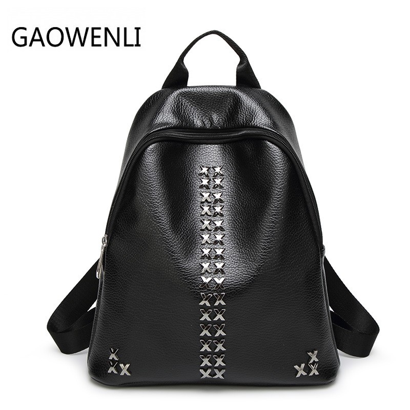 GAOWENLI Fashionable Waterproof Pu Leather Rivet Leisure Travel Backpacks Bags Women Famous Brans Backpack for Teenage