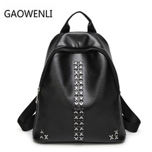 Gaowenli модные Водонепроницаемый из искусственной кожи с заклепками для отдыха и путешествий Рюкзаки Сумки Для женщин известный отруби рюкзак для подростков Обувь для девочек