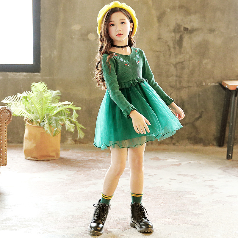 Girl Dress Christmas Wedding Party Dresses Knitted Mesh Winter Kids Girls Clothes Children Embroidery Girl Princess Dress CA129 цены