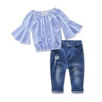 Hot Sale Kids Girl Clothing Set 2017 Summer Stripe Fashion Long Sleeve Shirt Cowboy Pants 2pcs Sets Baby Girls Clothes 5cs052