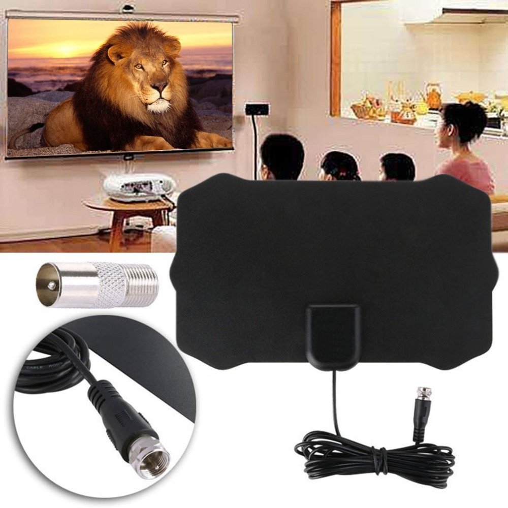 Mini Digital TV Aerial 1080P HD 50 Miles Reception Range Household Indoor Aerial VHF UHF Television Aerial Easy Installation