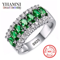 Best Selling Green CZ Zircon Engagement Wedding Rings For Women 100% Solid 925 Sterling Silver Rings Jewelry Wholesale AR501