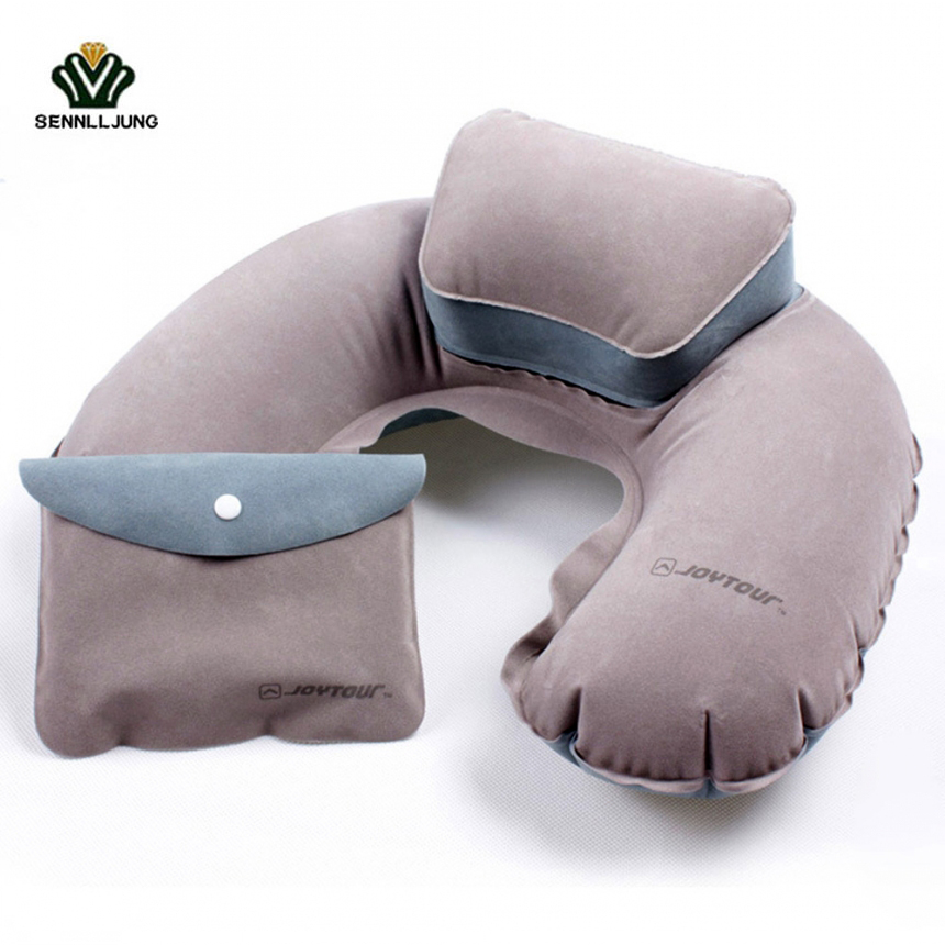 Travel Air Blow Up Pillow Folding Inflatable U Shape Pillow Cushion Soft PVC Washable Neck Pillow For Office/Outdoor/Flight Rest