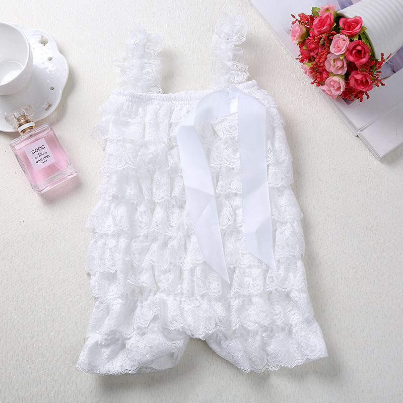 Cute Kids Baby White Lace   Romper   Summer Infant Girls Photography Props Petti Clothing Toddler Boy Ruffle Birthday Party Outfits