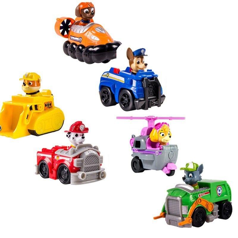 ФОТО 6PCS LOT Russian Puppy Cartoon Sliding Car Action Figures Dog Patrol Brinquedos Model Kids Christmas Birthday  Juguetes