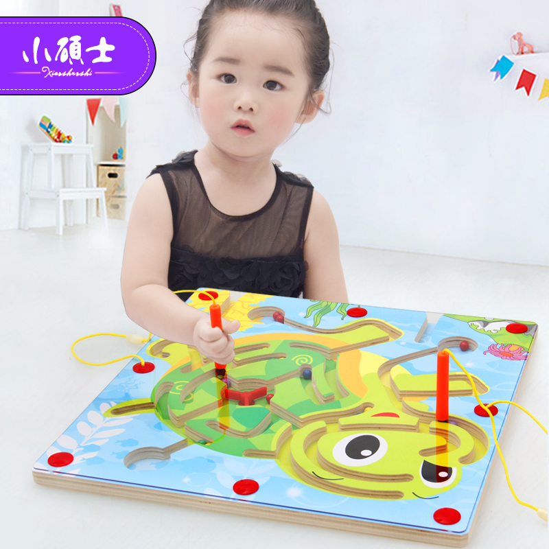 Wood Magnetic Maze Game Pen Labyrinth Board Chess animal shape Intelligence Games Children Learning Education Toys DIY