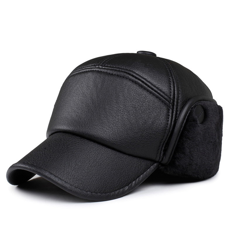 Woolen fur male warm winter hat outdoor windproof breathable cap ear protection man baseball caps bone leather visor