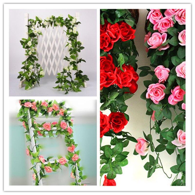 2.5m Artificial Silk Flower Rose Leaf Garland Vine Ivy Garden Yard Wedding Decor