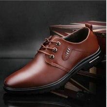 Горячая 2018 Демисезонный Для мужчин модные ботинки на шнуровке Повседневная обувь оксфорды Для мужчин из натуральной кожи Обувь в деловом стиле OO-73
