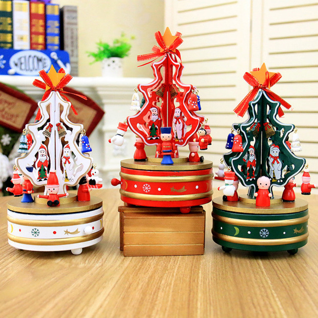 children fancy christmas wooden clockwork carousel music toy christmas birthday gift for girls home decoration toys - Mr Christmas Outdoor Decorations