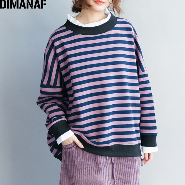 DIMANAF Women Sweatshirts Autumn Female Pullovers Plus Size Striped Cotton Thicken Fashion Spliced Loose Large Tops Shirt 2018