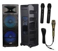 STARAUDIO New 5000W 15 Powered RGB LED Light USB SD FM BT Speaker With 1 Wired