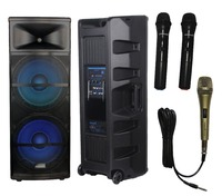 STARAUDIO SDMN 15RGB PA DJ 5000W 15 Power Active Stage LED RGB Light USB SD FM BT Speaker W/ 1 Wired Mic 2 Wireless Mic