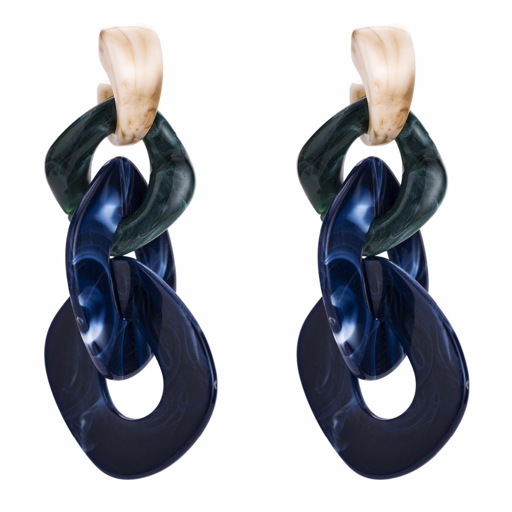Qiaose 3Colors Resin Circle Chain Dangle Earrings for Women Fashion Jewelry  Boho Maxi Collection Earrings Accessories -in Drop Earrings from Jewelry ... f9960719274f