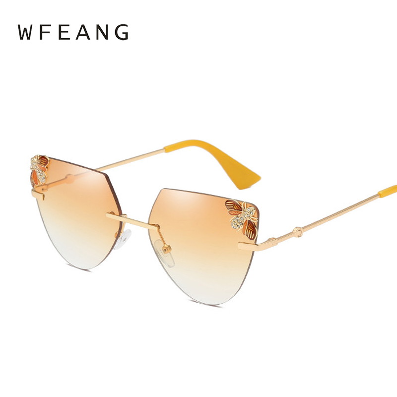 6b03316bde3 WFEANG Rimless Gradient Cat Eye Sunglasses Women Mirror Sun Glasses For  Luxury The bee decoration Metal