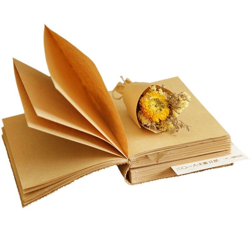 Grande capacité lin laine filles combinés boîte-cadeau couverture rétro Notes vierges peintes à la main bricolage créatif épais livre cadeau d'anniversaire