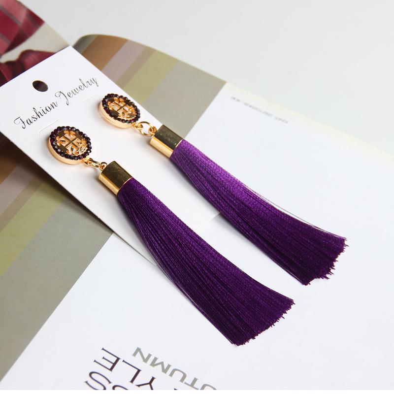 Exaggerated Rhinestone Long Tassel Earrings 2017 New Arrival Fashion Brincos Bijoux Crystal Dangle Earrings Women's Jewelry 10