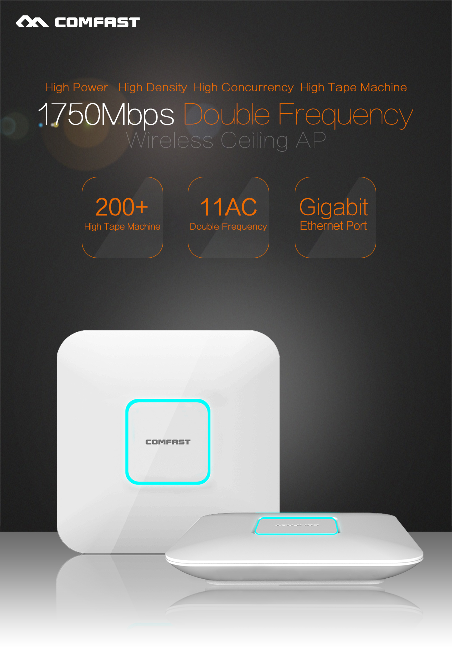 2PCS 1750M Ceiling AP wifi router 5G+2.4G AC wireless Comfast CF-E380AC 802.11AC WiFi Access Point support OPENWRT 48V POE power цены онлайн