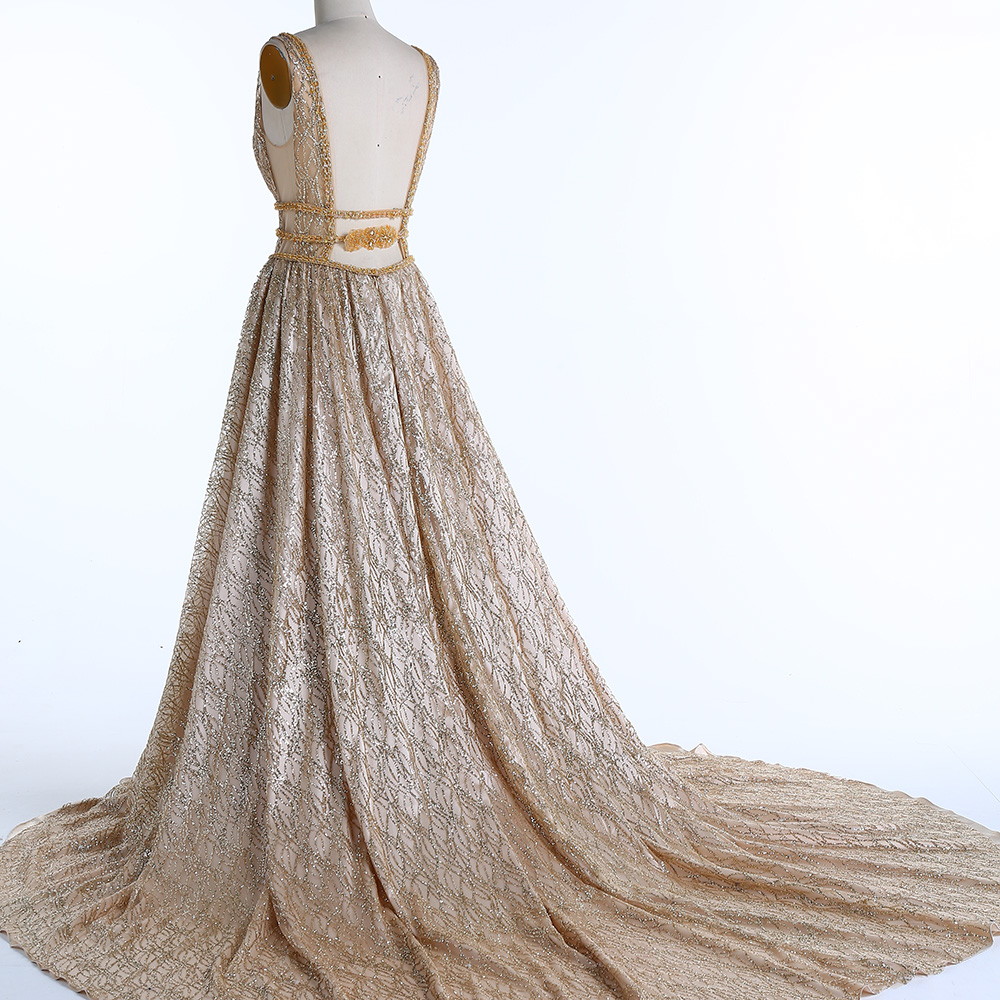 BeryLove Χρυσά Βραδινά Φορέματα Βραδινά - Ειδικές φορέματα περίπτωσης - Φωτογραφία 3