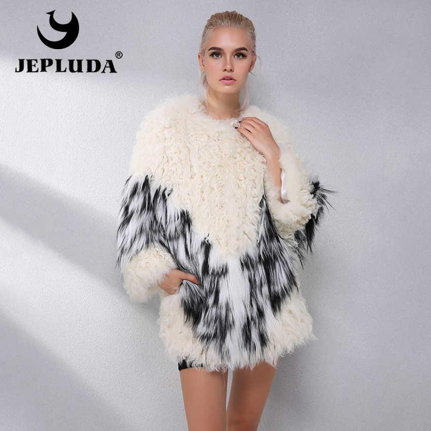 0d3f8d5c7b5 JEPLUDA Женская Шуба Из Натуральная Мех Ягнёнка Женская Куртка Зимняя Из  Лисицы Лама Реальный Зимнее Пальто