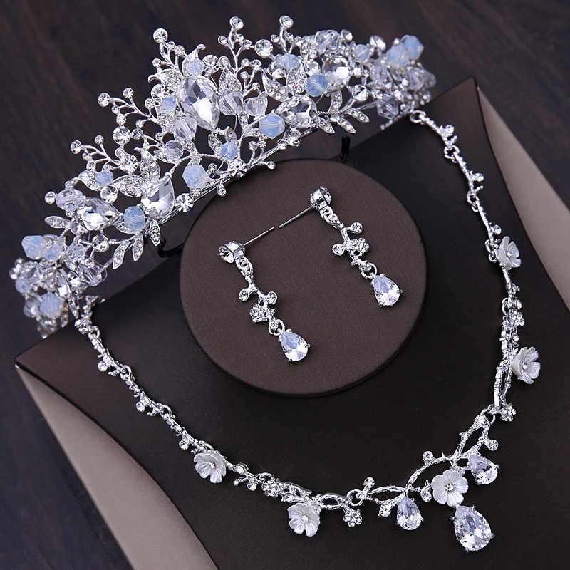 Bridal Wedding Sieraden Sets Korea Tiara Zirconia Ketting Oorbellen Crystal Haaraccessoires Vrouwen Prinses Kroon Hoofddeksel