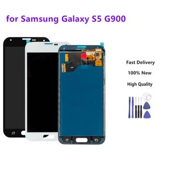 Para Samsung S5 G900F pantalla LCD digitalizador táctil montaje Compatible sin botón de inicio para Samsung Galaxy S5 G900 G900F