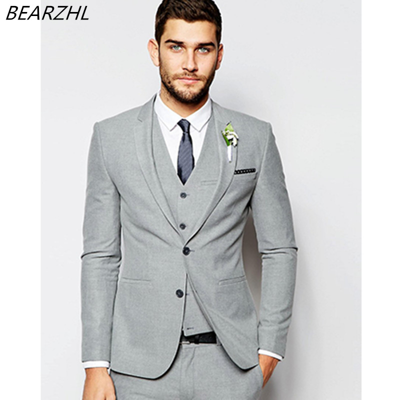 Light Gray Suits For Wedding Summer Tuxedo Groom Wear 3 Piece Suit High Quality Prom In From Men S Clothing Accessories On Aliexpress