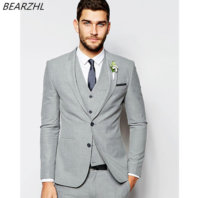 light gray suits for wedding summer tuxedo groom wear 3
