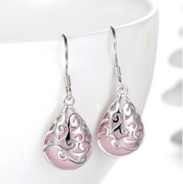 2017 yeni gəlişi yüksək keyfiyyətli moda opal rhinestone 925 sterlinqli gümüşü xanımlar uzanacaq sırğalar Milad hədiyyəsi