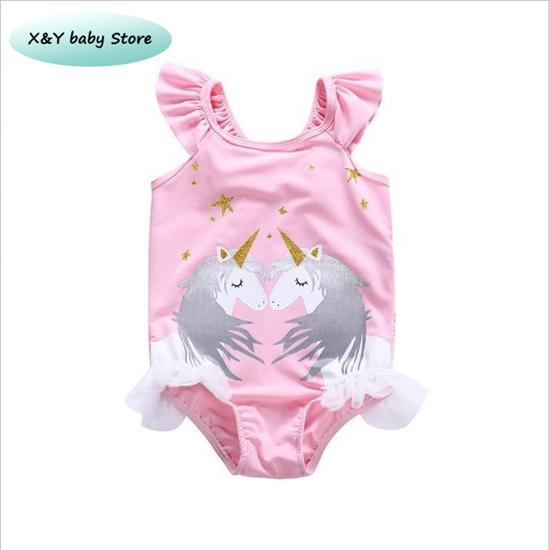 2019 New Summer Girls Swimwear Soild Kids Girl Swimsuits