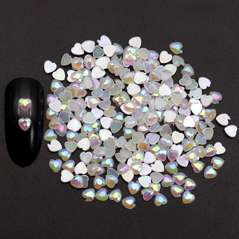 761bad6351 WAKEFULNESS 500Pcs AB Horse Eye Crystal Rhinestones for Nails Heart Round  Gemstones Nail Charms Manicure 3D Nail Art Decorations
