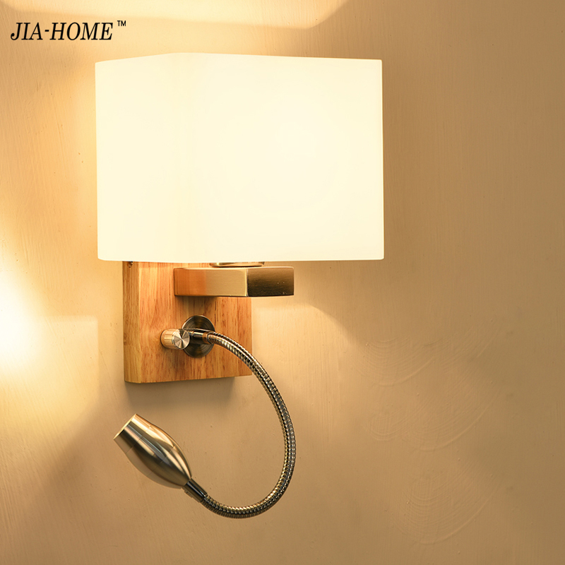 Modern wooden Wall Lamps with glass lampshade for Bedside Lamps living room Wall Light for Home Decor Sconce Lighting fixtures