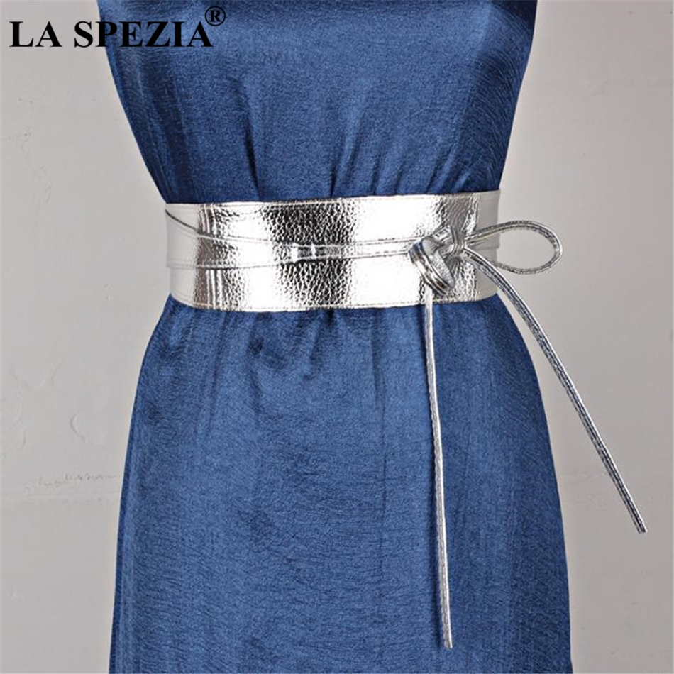 LA SPEZIA Women Belt Black Pu Leather Belt Women Soft Leather Wide Ladies Belts For Dresses Self Tie Wrap Wedding Female Belt in Women 39 s Belts from Apparel Accessories