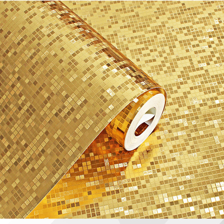 3D stereo gold silver mosaic wallpaper pillar KTV bar counter waterproof plaid gold foil wallpaper environmental protection PVC in Wallpapers from Home Improvement