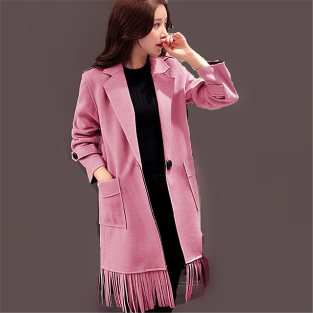 4 Colores 2016 Nueva Corea Borlas Solo Botón Turn-down Collar bolsillo Primavera Trinchera Abrigo Mujer Delgada Larga Outwear Plus Size ZS871