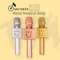 Original Micgeek I6 Wireless Karaoke Microphone Bluetooth KTV Magic Voice Change Dual Speaker Metal Microphones For Smartphone