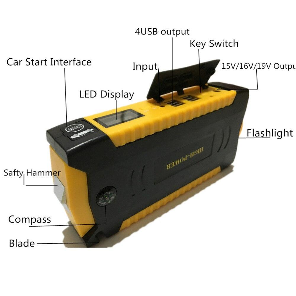 Mejor Multi-función Mini portátil cargador de batería de emergencia coche de arranque salto 16000 mAh de energía Banco dispositivo de arranque - 2