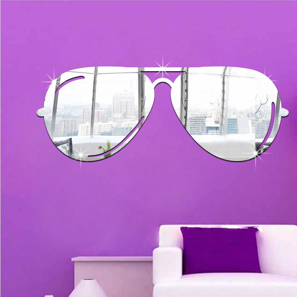 Sunglasses Stickers Wedding Room Living Room Kids Room Decals Sofa TV Background Wall Stickers Glasses Door Decorative Mirror