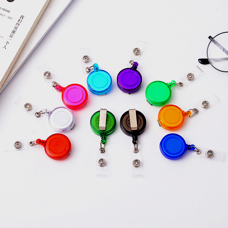 10 Pcs/lot Retractable Badge Holder Key Ring ID Badges Candy Color Convenient For School Office Company Supplies Stationery