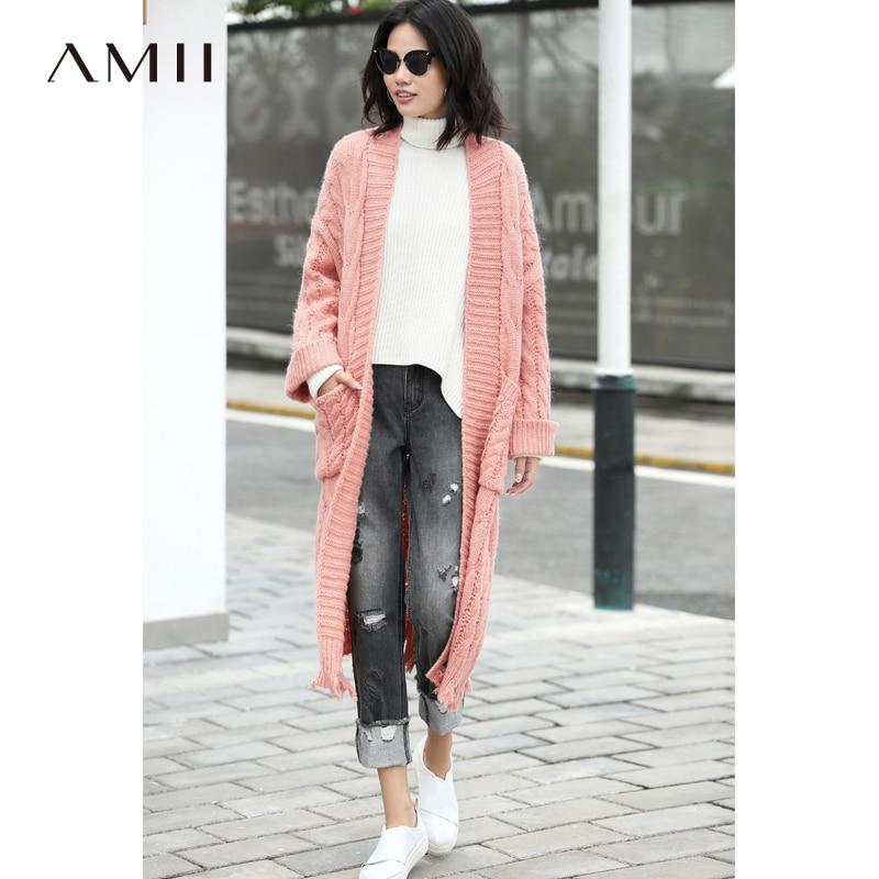Amii Minimaliste Femmes 2018 Hiver Cardigan Chic Lâche Longue Haute Qualité Conception Originale Femelle Tricoté Cardigan Chandails