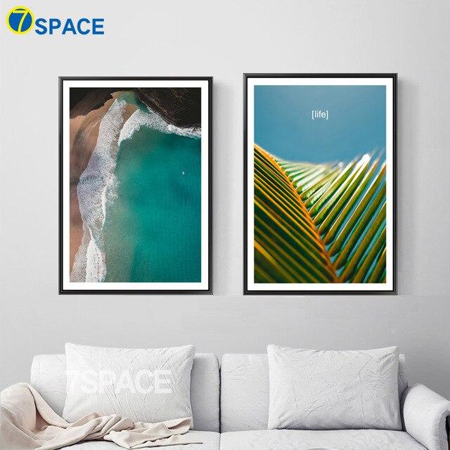 7 Space Sommer Strand Print Poster Moderne Landschaft Wandkunst Leinwand  Malerei Fotografie Stil Wandbild Für
