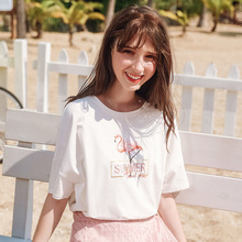 Wasteheart Summer New Women Tops Casual White T-shirts Printed Shirt O Neck Short Plus Size T Cotton Sexy Tees