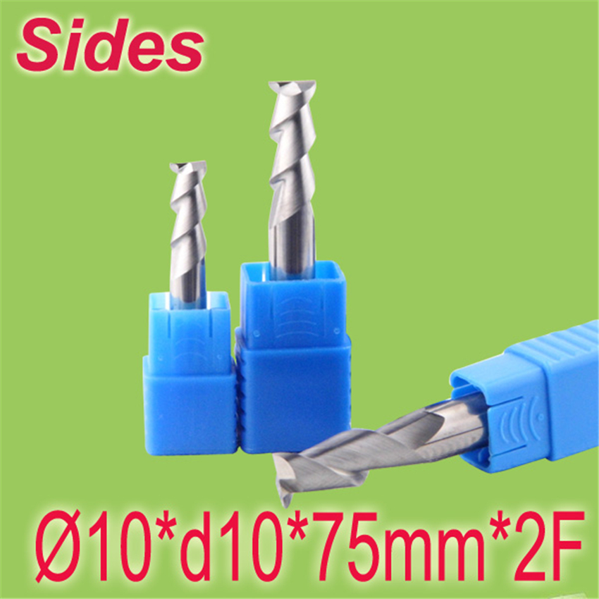 Free Shipping  10*d10*75mm*2F 10mm Aluminum 2F Square Flat Spiral Flute Endmill Cutter Working on CNC Milling Machine  цены