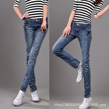2015 new  autumn women  fashion Slim  washed vintage denim trousers, low waist stretch nostalgiadark jeans