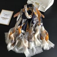 300s Pure Cashmere Scarf Women Yellow Belt Luxury Brand Design Scarves Female Winter Warm Spring 2019 New Shawls Wraps 200*100cm