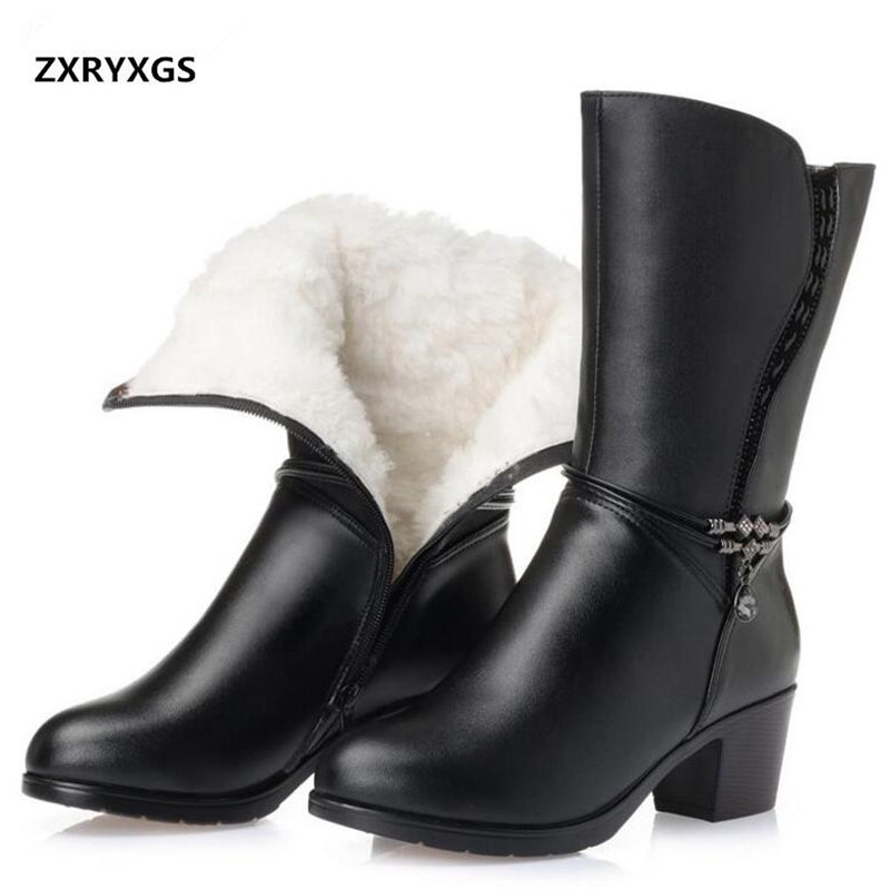 2019 new plus size winter women boots Warm comfort plush wool snow boots thick heel In