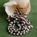 hot sell Open style hand knotted natural garnet white freshwater pearl long sweater chain necklace fashion jewelry
