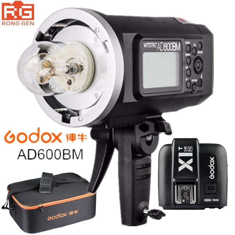 Godox AD600BM 600WS GN87 HSS 1/8000s Outdoor Flash Photography lights Strobe 2.4G Wireless X System X1T-N Trigger for Nikon godox ad600b ttl 600ws hss gn87 outdoor flash 8700mah battery godox x1t c x1t n x1t s trigger transmitter for canon nikon sony