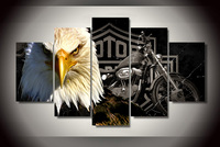 Free Shipping 5pcs Large HD Printed Oil Painting Eagles Motorcycle Canvas Print Home Decor Wall Art